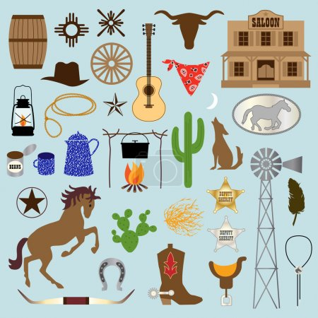 set of cowboy cartoon icons