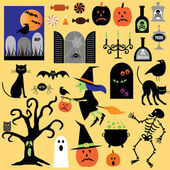 halloween cartoon symbols set
