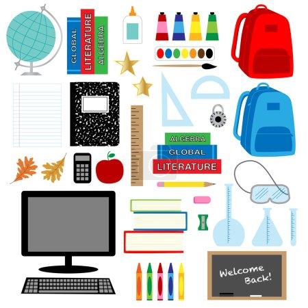 School supplies icons set