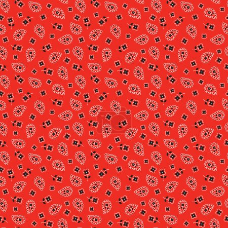 Illustration for Bright red bandana seamless pattern. vector illustration - Royalty Free Image