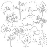 set of outline trees icons