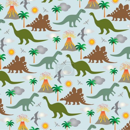 dinosaurs and volcanoes pattern