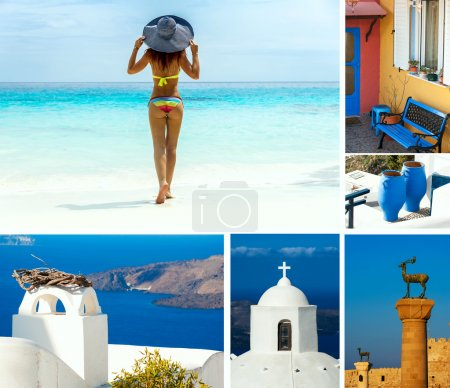 Hollydays in Greece. Beautiful woman standing on lazur paradise