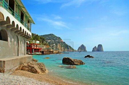 Faraglioni Rocks off the magical island of Capri in The Bay of Naples Italu