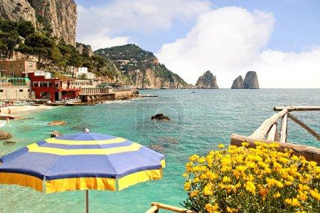 Faraglioni Rocks off the magical island of Capri in The Bay of Naples Italu