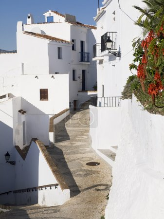 The narrow streets of the old town in Frigiliana a mountain village on the Costa del Sol in Spain