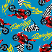 Red motorcycle racing with checkered flag seamless pattern