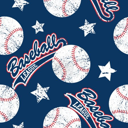 Baseballs and stars seamless pattern