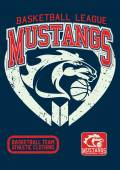 Mustangs basketball league on a navy background