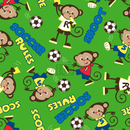 Soccer rules monkey seamless pattern