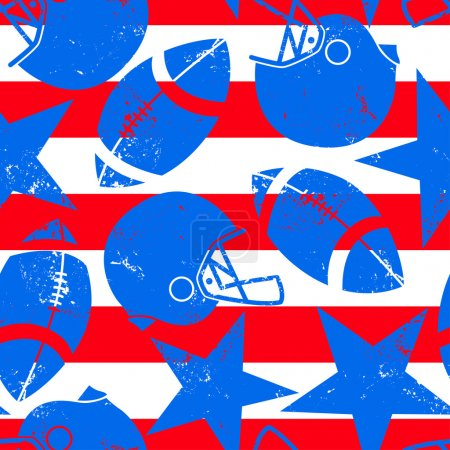 Stars and Stripes distressed football seamless pattern