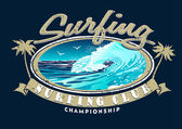 Surfing Club Championship with surfing wave