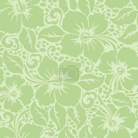 Tropical Hawaiian hibiscus floral seamless pattern