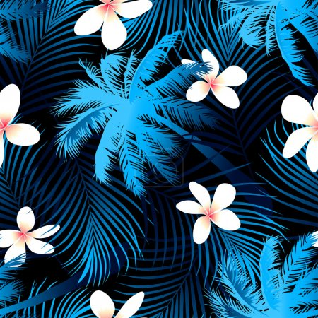 Illustration for Tropical palm seamless pattern with black background . - Royalty Free Image