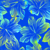 Tropical flowers blue seamless pattern with watercolour effect