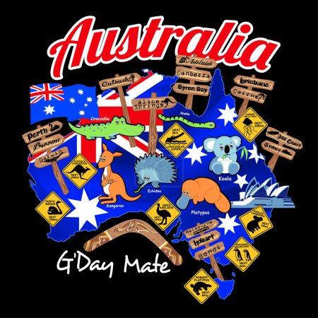Map of Australia with nation flag and icons