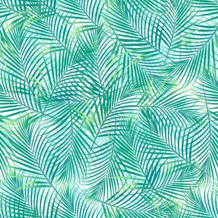 Illustration pour Feuilles de palmier tropicales dans un motif sans couture sur un fond blanc . - image libre de droit