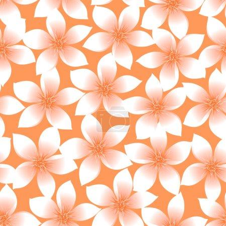 Orange tropical Plumeria and Hibiscus floral seamless pattern