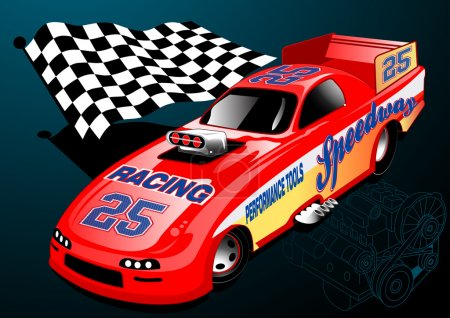Red Dragster racing car with chequered flag and engine illustrat