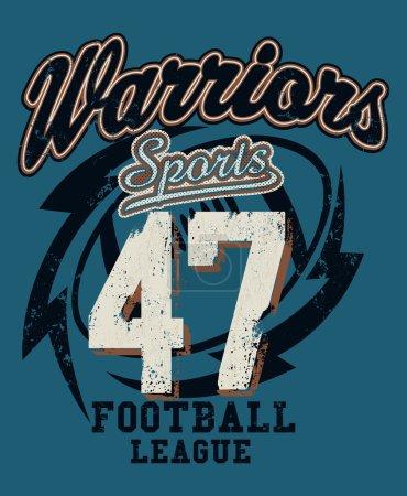 Sports Warriors Football league distressed print