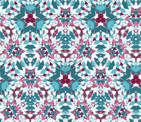 Illustration for Seamless pattern composed of bright color abstract elements located on a white background. Useful as design element for texture, pattern and artistic compositions. Vector illustration. - Royalty Free Image