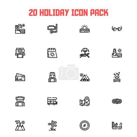 Illustration pour 20 icônes vacances d'été et camp de randonnée thème - image libre de droit