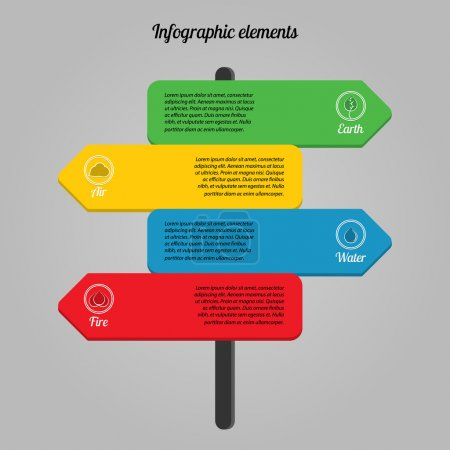 Ecological infographic  with four elements of nature