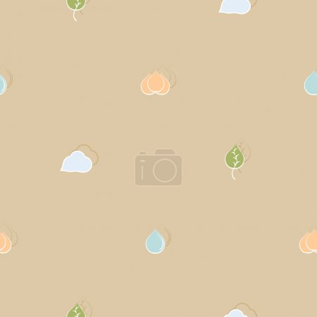 Seamless pattern on environmental issues in retro style
