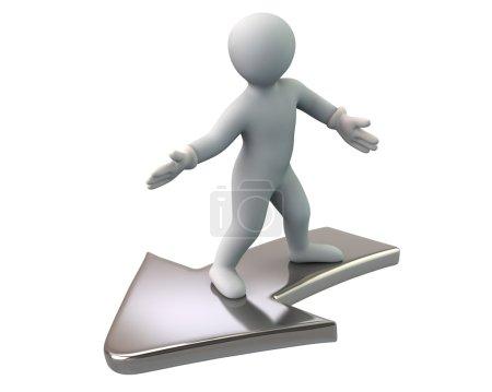 Photo pour 3D illustration de l'homme volant sur flèche isolé sur fond blanc - image libre de droit