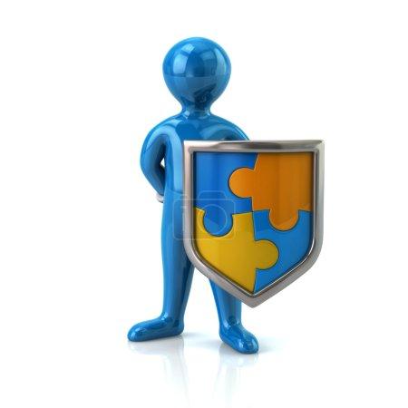 Blauer Mann mit Puzzle-Schild-Symbol