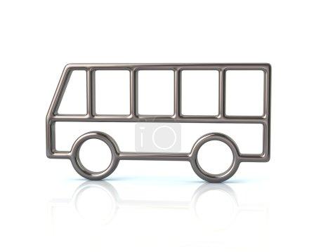 silver bus car icon