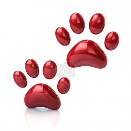 two cat's red paws icon