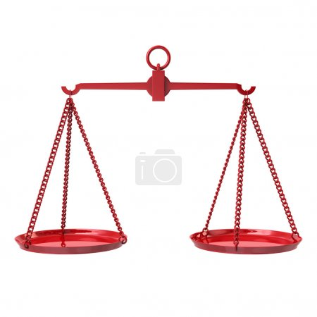 Red justice scales symbol