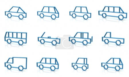 Set of blue cars icons