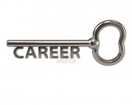 Silver key with word career