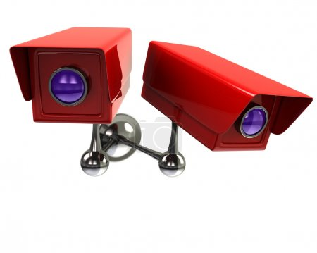 Surveillance cameras on white