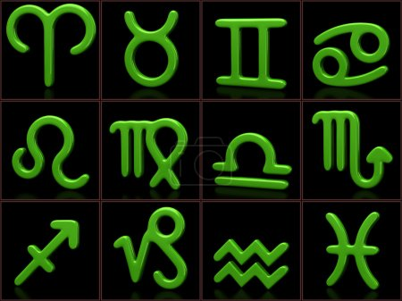 Green zodiac sign set
