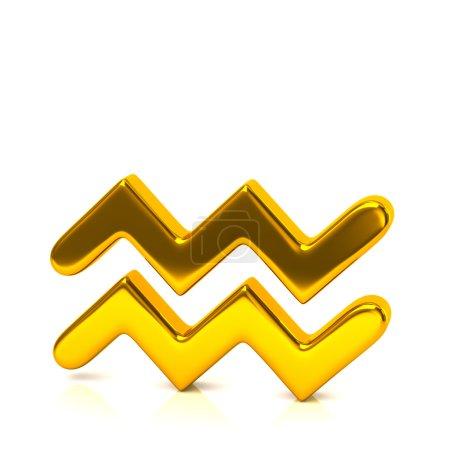 Golden aquarius zodiac sign