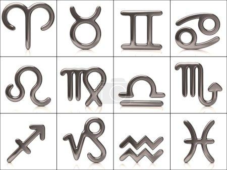 Photo pour Ensemble de signes du zodiaque argenté sur fond blanc - image libre de droit