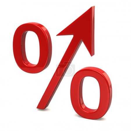 Red growing percent sign