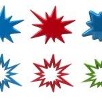 Set of bursting star icons on white background