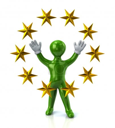 Greern man with golden stars