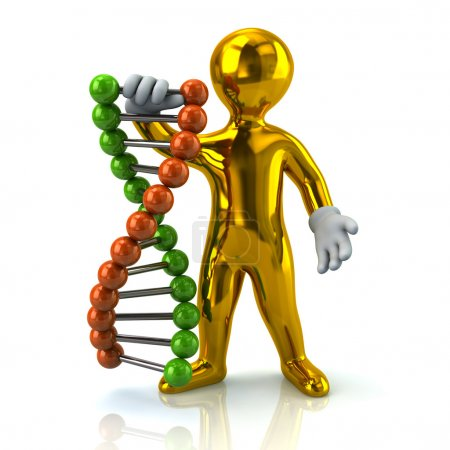 Golden man and DNA helix