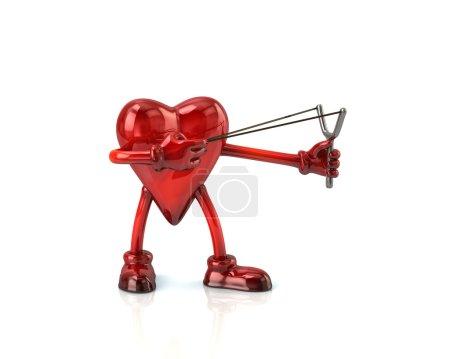 red heart aiming slingshot