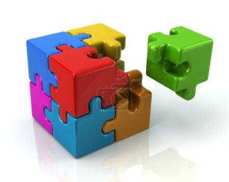 bunter 3D-Puzzlewürfel mit Stück