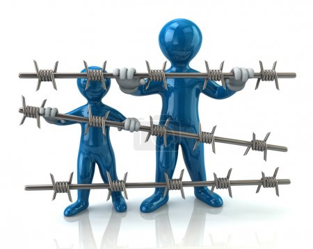 refugee people behind barbed wire