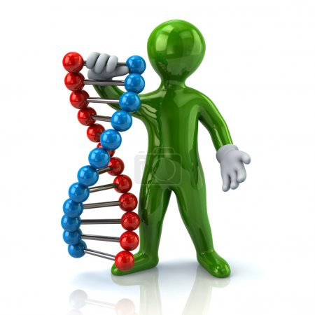 Photo for 3d Illustration of green man holding DNA helix - Royalty Free Image