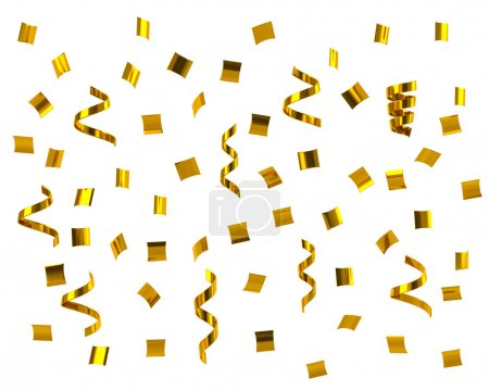 Golden confetti festive pattern on white background