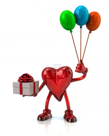 Heart holding gift box and balloons