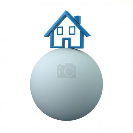 sphere with blue house